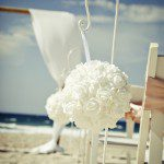 shepherd hook with kissing ball, caloundra wedding